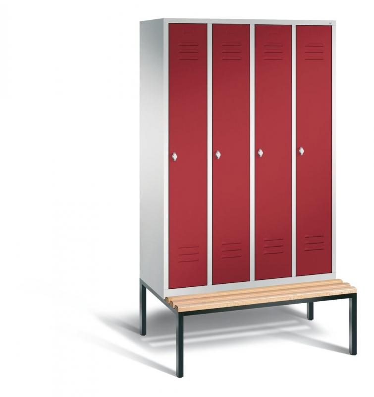 spind mit sitzbank metall umkleideschr nke. Black Bedroom Furniture Sets. Home Design Ideas