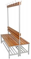 Umkleideraum Sitzbank mit Hakenleiste doppelseitig - Modell Classic